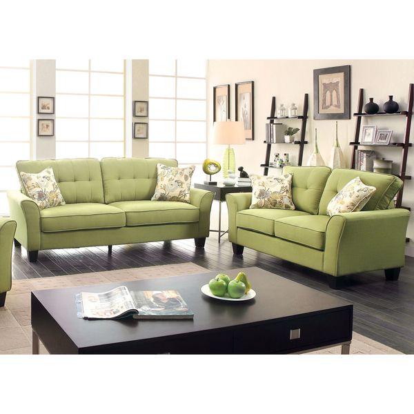 Furniture Of America Primavera Modern 2 Piece Linen Loveseat And Sofa Set  (Light Teal), Blue (Foam)