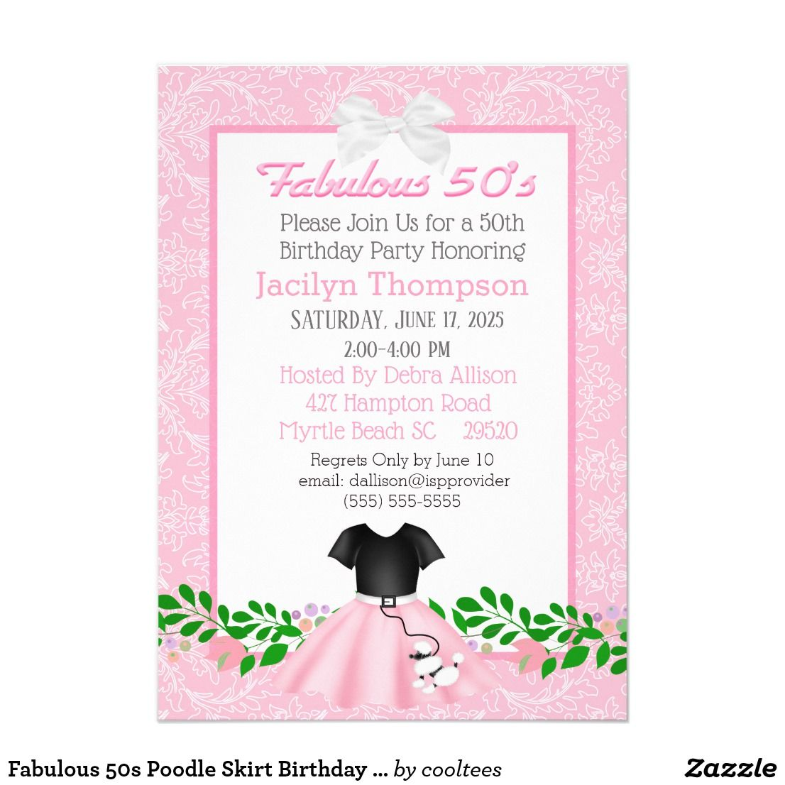 Fabulous 50s Poodle Skirt Birthday Invitations | 1950\'s Theme Party ...
