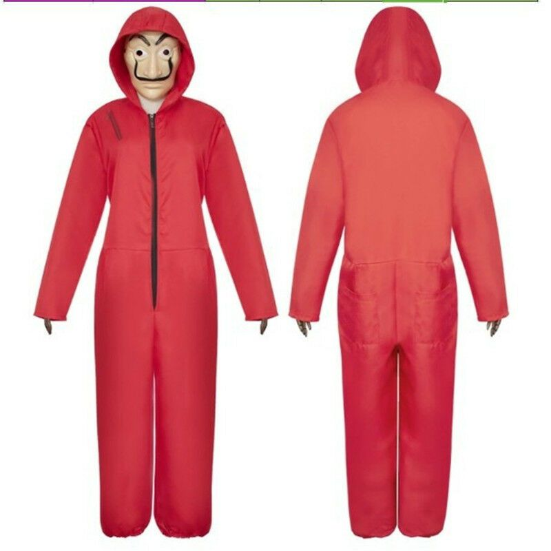 Movie La Casa De Papel Salvador Dali Costume The House Of Paper Cosplay Playing De Papel Salvador Hoodie Jumpsuit Red Suit Cosplay Costumes