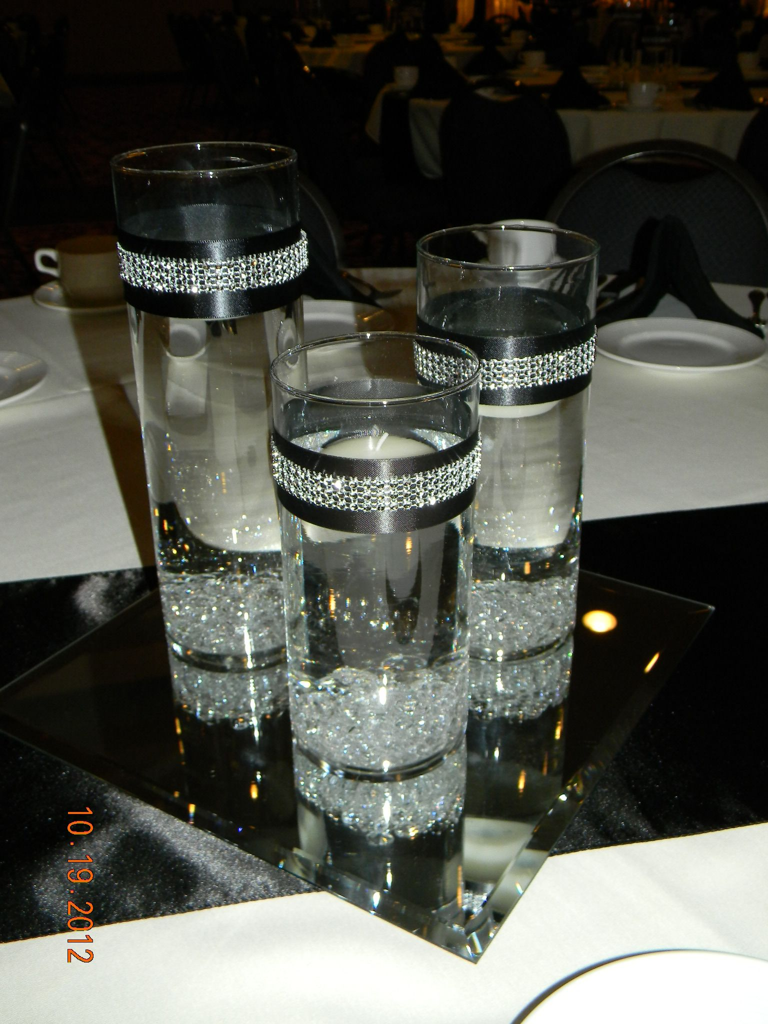 Black Table Runner, Square Mirror, Set Of 3 Cylinders/diamond Gems/black U0026  Rhinestone Ribbon Around Cylinders, Float Candles