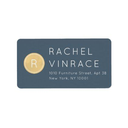 Midnight Blue Gold Monogram Return Address Label - minimal gifts