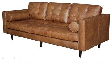 Maxwell Modern Leather Sofa   Midcentury   Sofas   Zin Home