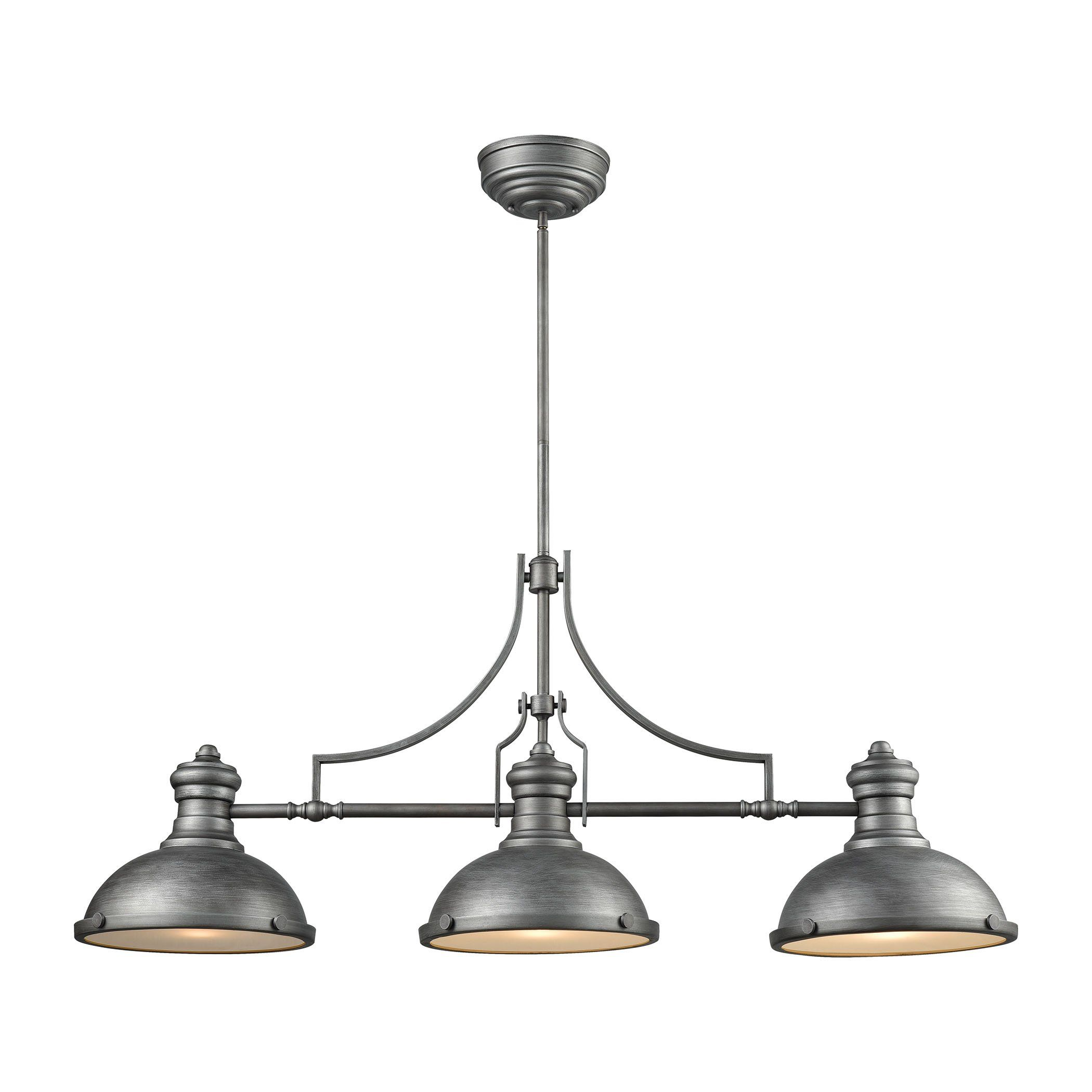 Chadwick light island in weathered zinc with frosted glass