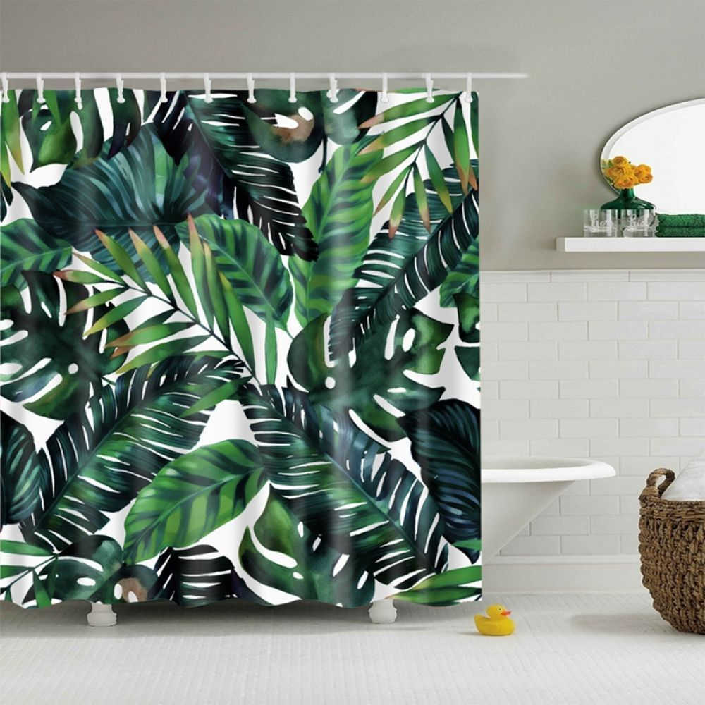 Natural Pattern Pineapple Flower Leaf Polyester Shower Curtains