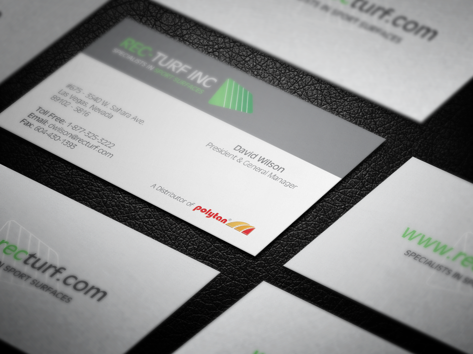 Business card design for artificial turf distributor. | Business ...