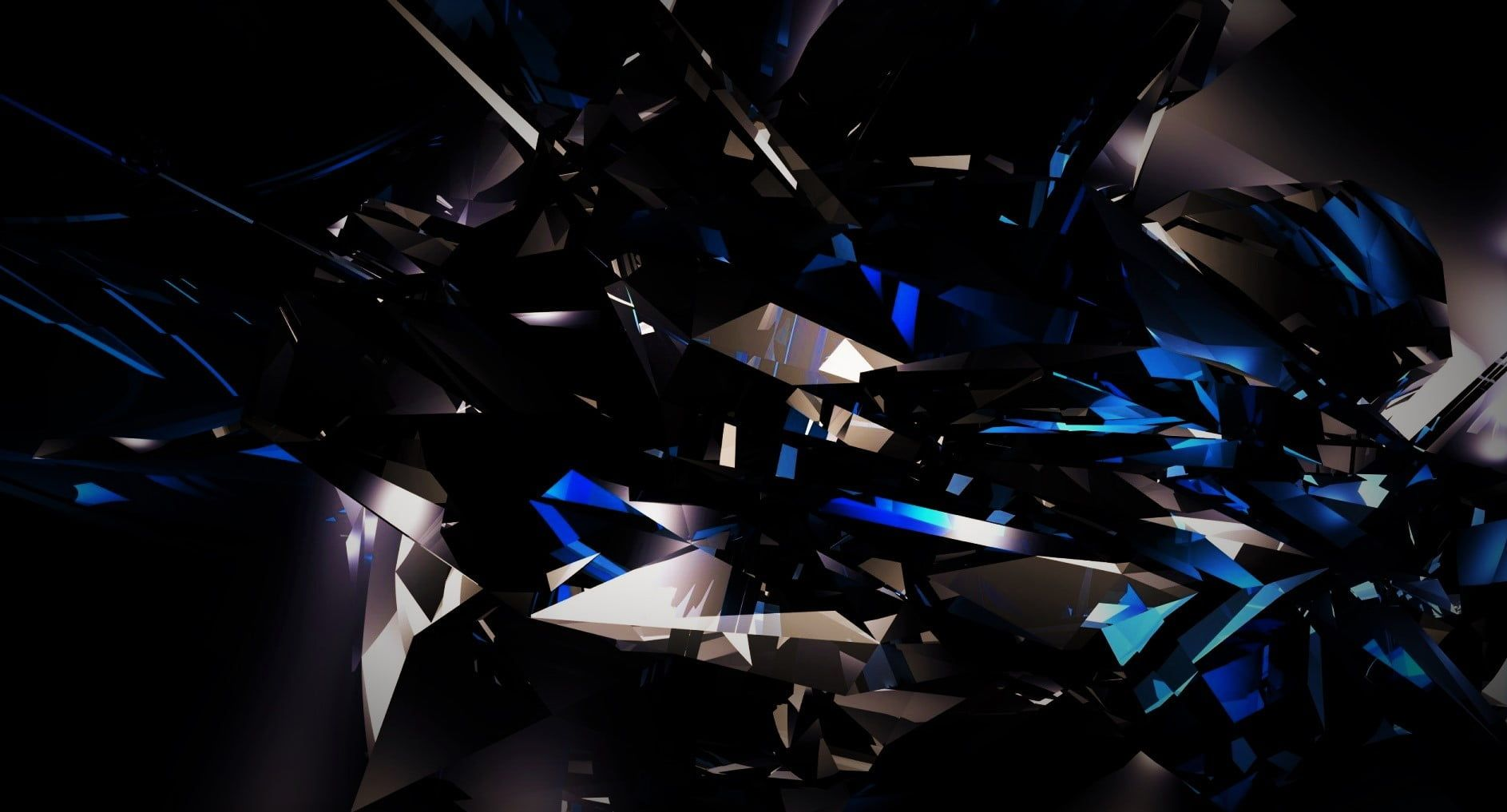Blue And Black Abstract Illustration Black Dark Abstract 3d Shards Glass Blue Bright 720p Wall Black And Blue Wallpaper Dark Wallpaper Black Abstract