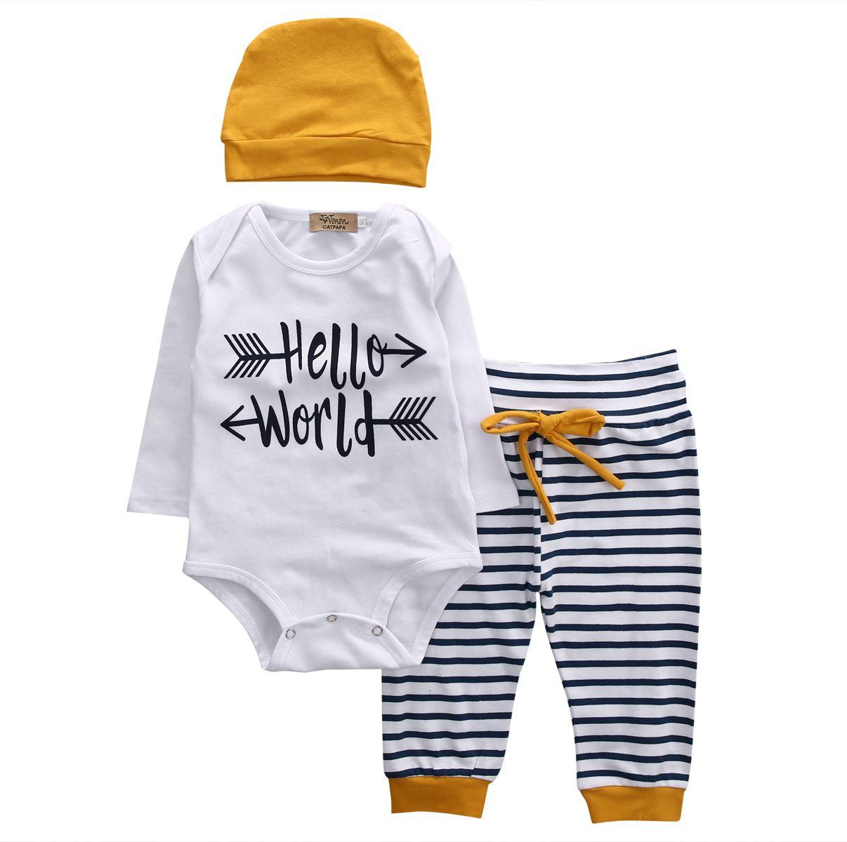 93451ddc4 Barato 3 pcs Bebê Recém nascido Infantil Roupas Casuais Manga Longa Olá  Mundo Romper Calça Listrada