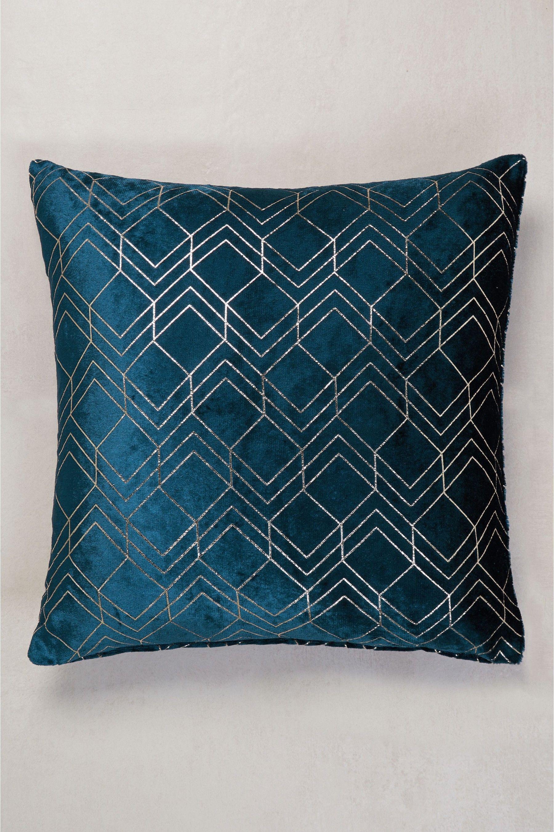 Next Metallic Velvet Geo Cushion - Blue   Products in 2019 ...