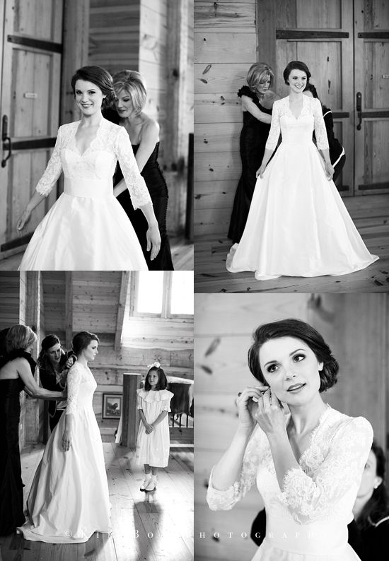Modest lace wedding ball gown with v-neck and 3/4 sleeves Blake + ...