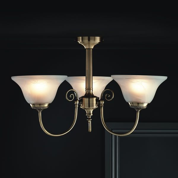 Wilko york light fitting ceiling antique brass effect 3 light