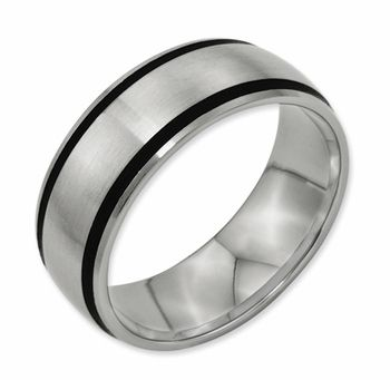 Bridal Titanium Black Rubber 8mm Brushed Band