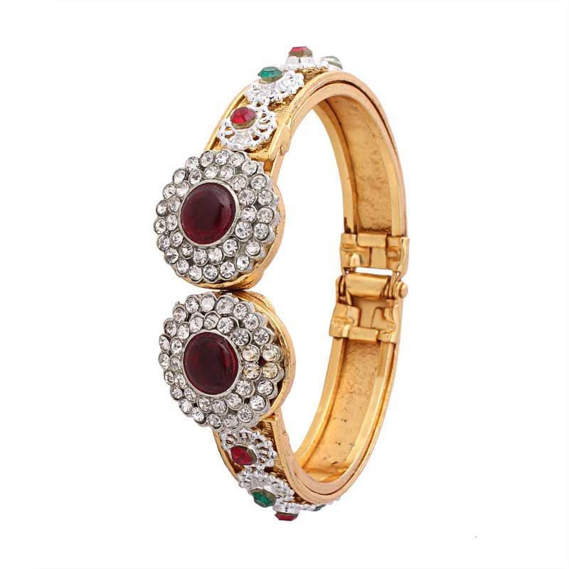 Maroon Gold Plated Austrian Diamond Bangle