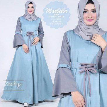 Baju Pakaian Wanita Gamis Hijabers Marbella Dress Sky Blue Burka