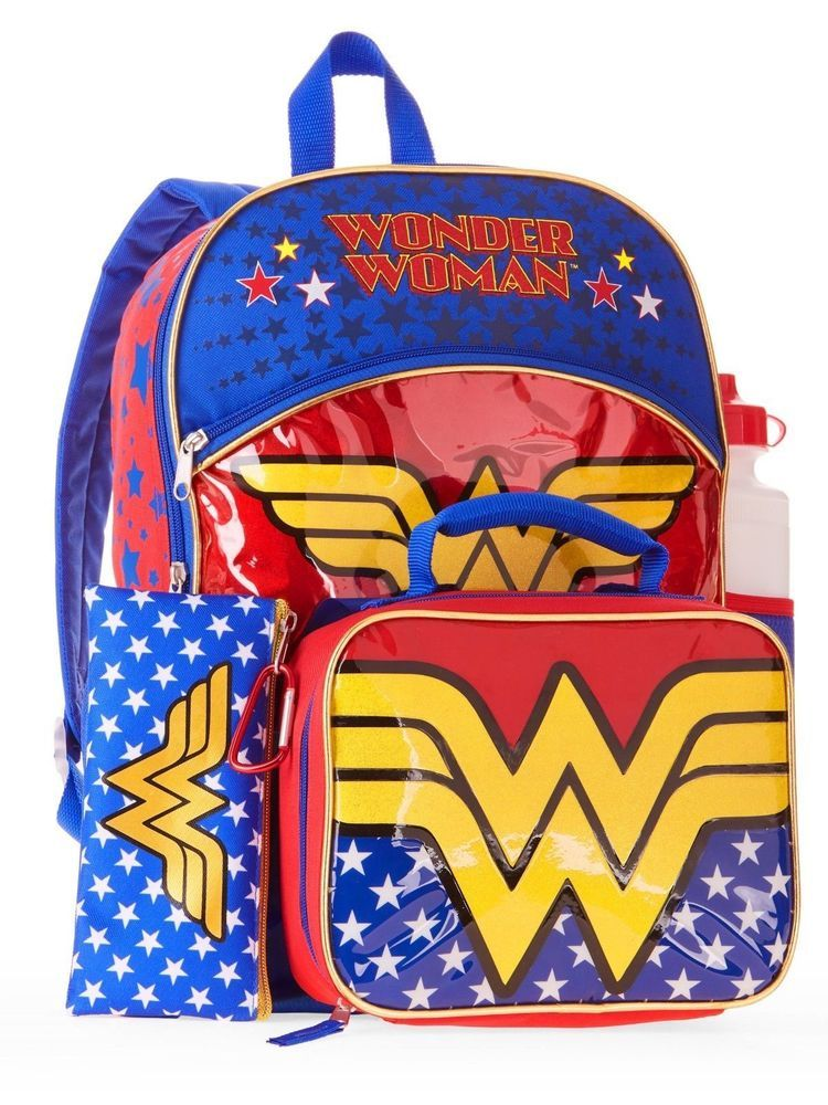 ba4188435bcd Wonder Woman 5-Piece Backpack Set with Lunch bag lunchbox Full Size NEW   WonderWoman  Backpack5pieceset