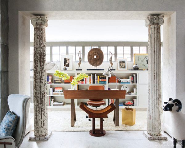 Contemporary eclectic home office 19th century columns modern furnishings and natural light