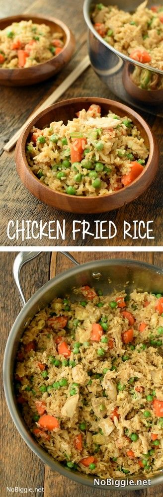Chicken Fried Rice One pan chicken fried rice is the perfect weeknight dinner and a great solution for leftover rice from the night before. via @nobiggie