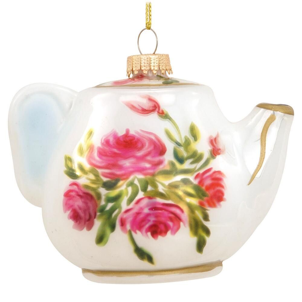 Christmas Tree Teapot: Teapot With Roses Glass Ornament