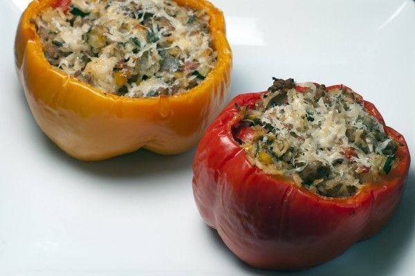 Peppers Stuffed With Summer Vegetables - substitute tofu for pork