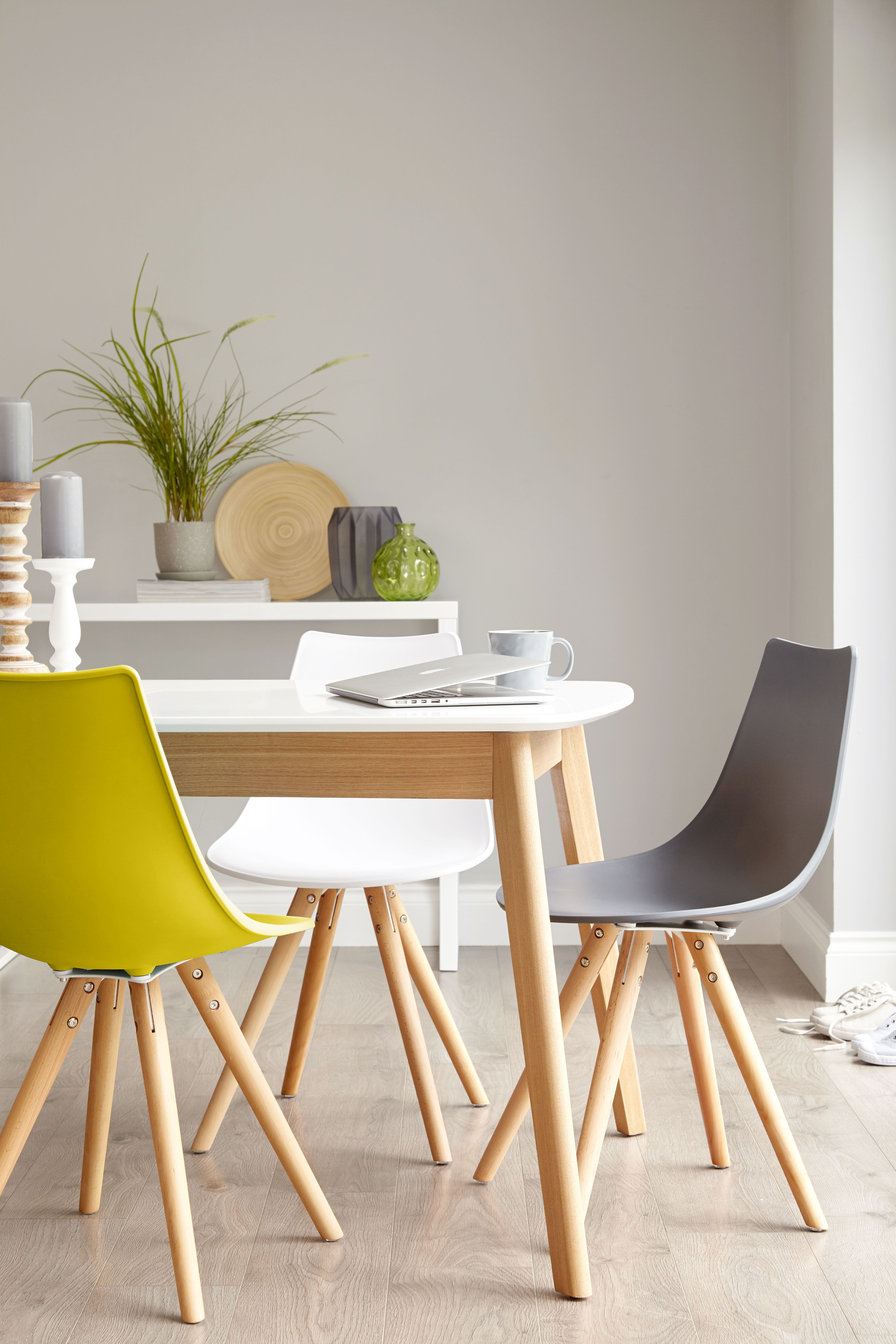 Aver Oak And White Extending Dining Table Colored Dining Chairs