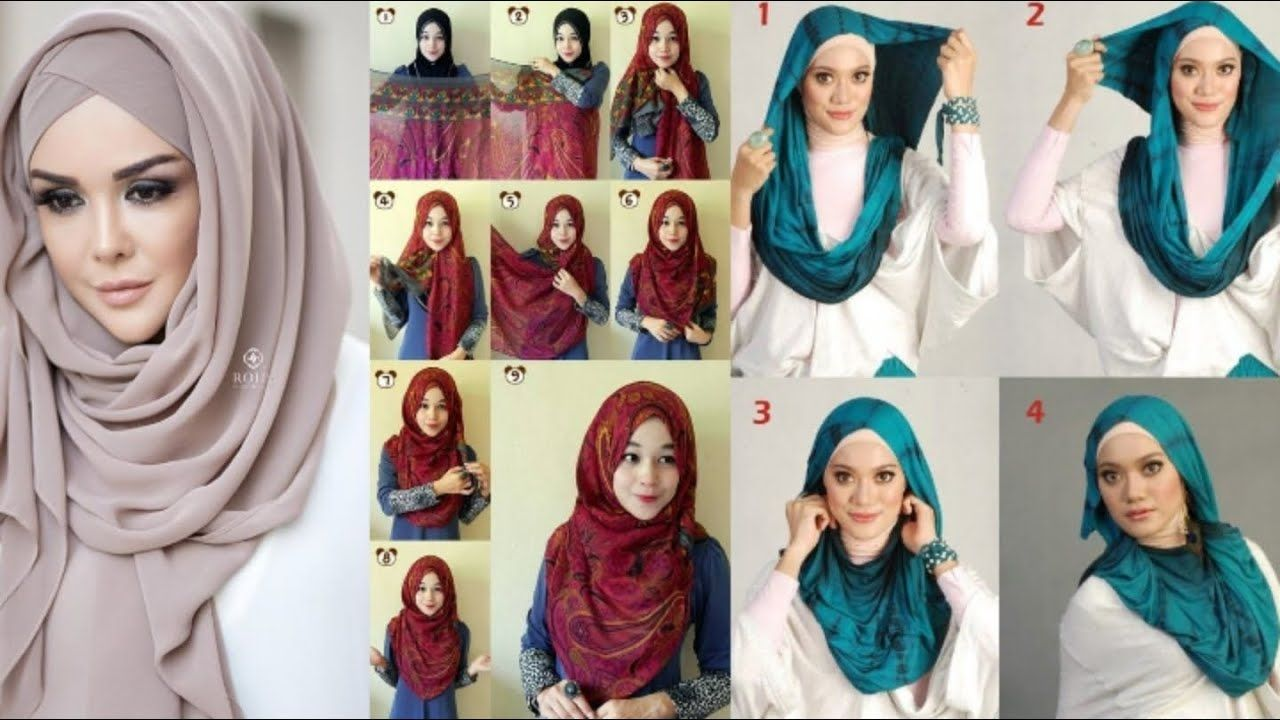 Easy layer step by step beautiful hijab styles for college and