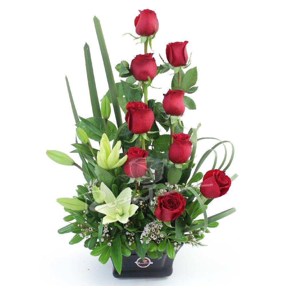 Espectacular Arreglo De Rosas Y Liliums Ar301 5hl Jpg 1000 1000 Valentines Flowers Flower Arrangements Flowers