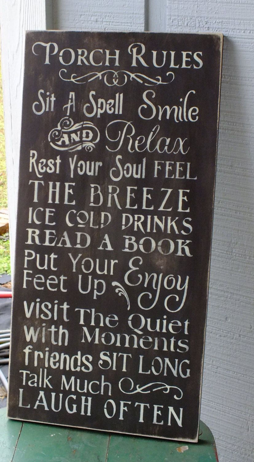 Porch Rules Sign Large Vintage Style By Homebyvintage On