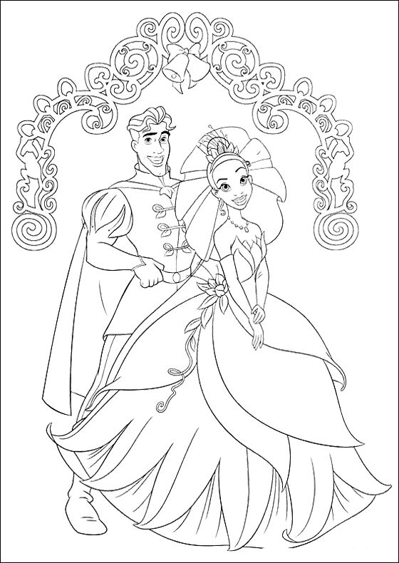 Princess Tiana And Prince Naveen Coloring Pages
