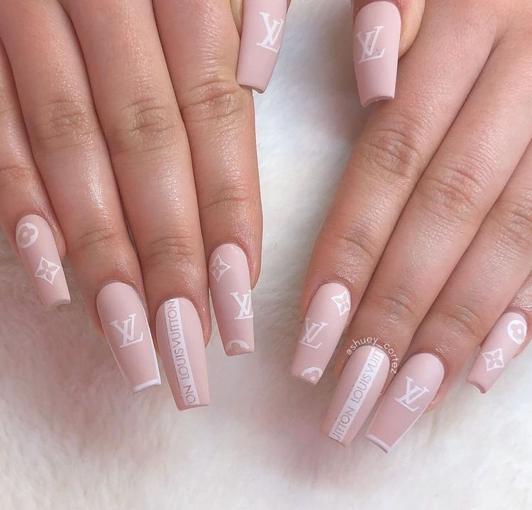 Pink Louis Vuitton Nails
