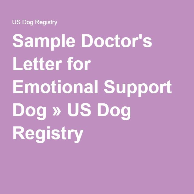 Sample Doctor's Letter For Emotional Support Dog It's