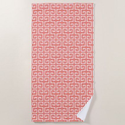 Coral Pink And White Geometric Pattern Beach Towel Patterns
