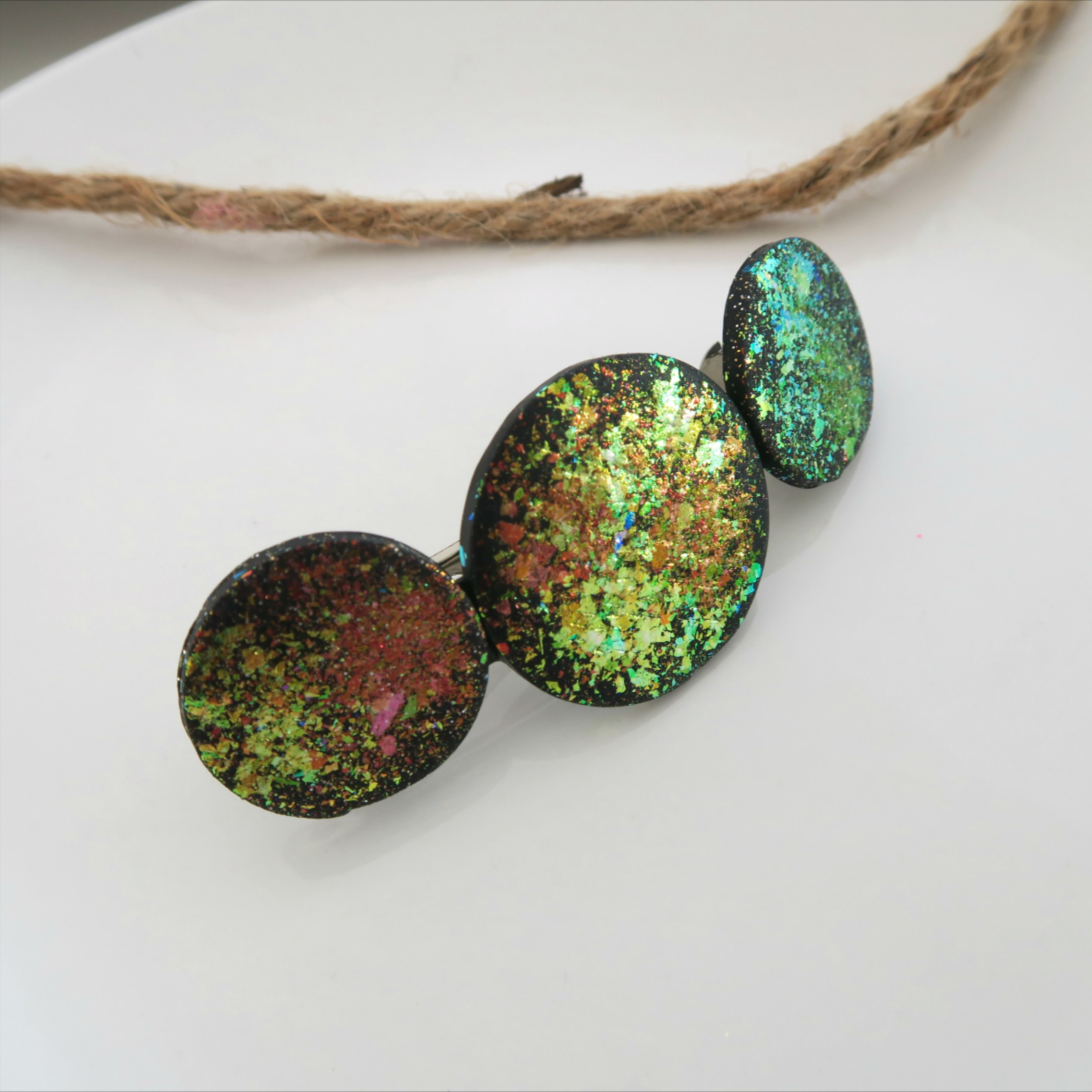 fire glitter handmade with polymer clay holographic glitter hair barrette statement hair piece Hair clip geometric hair accessory