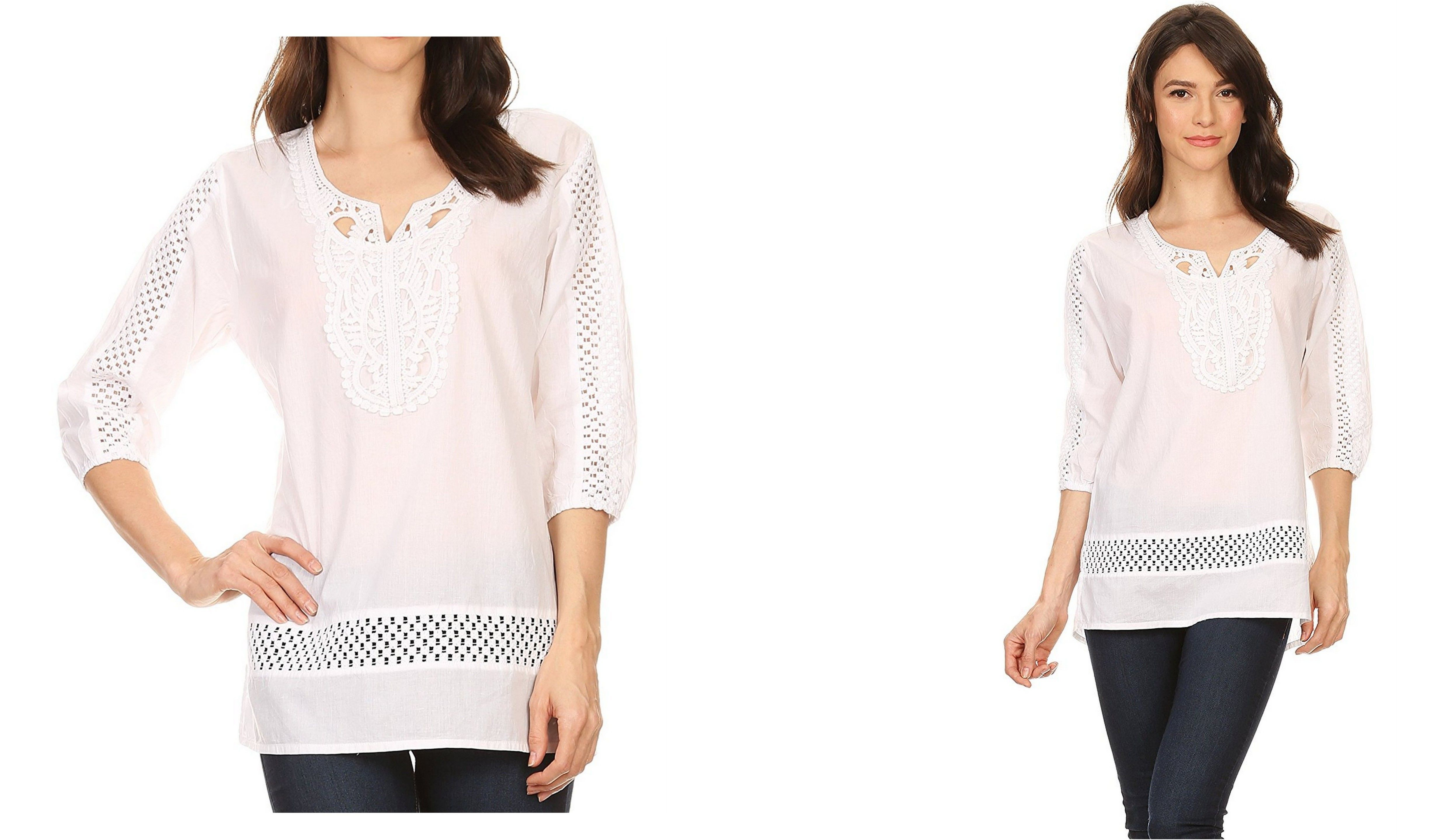 Sakkas marion sleeve blouse tunic with lace applique and