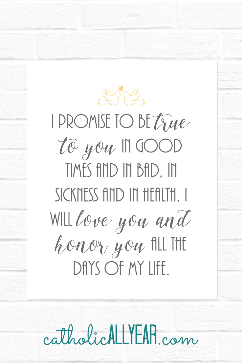 Wedding Vows Keepsake 2 I Promise To Be True To You Digital Download Catholic All Year In 2020 Catholic All Year Vows Wedding Vows