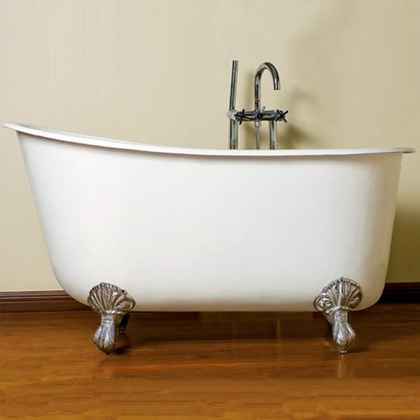 Cambridge Plumbing Cast Iron Clawfoot Swedish Slipper Tub 54 X 30 W No Faucet Slipper Tubs Cast Iron Tub Clawfoot Tub