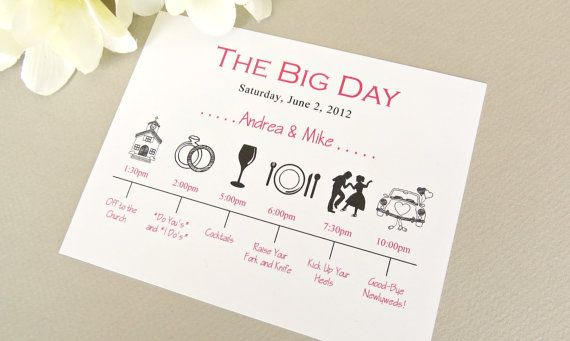 Wedding day timeline card wedding schedule of events for Wedding day schedule of events template