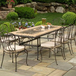 Alfresco Home Loretto Indoor Outdoor Marble Mosaic 8 Seat Dining Set