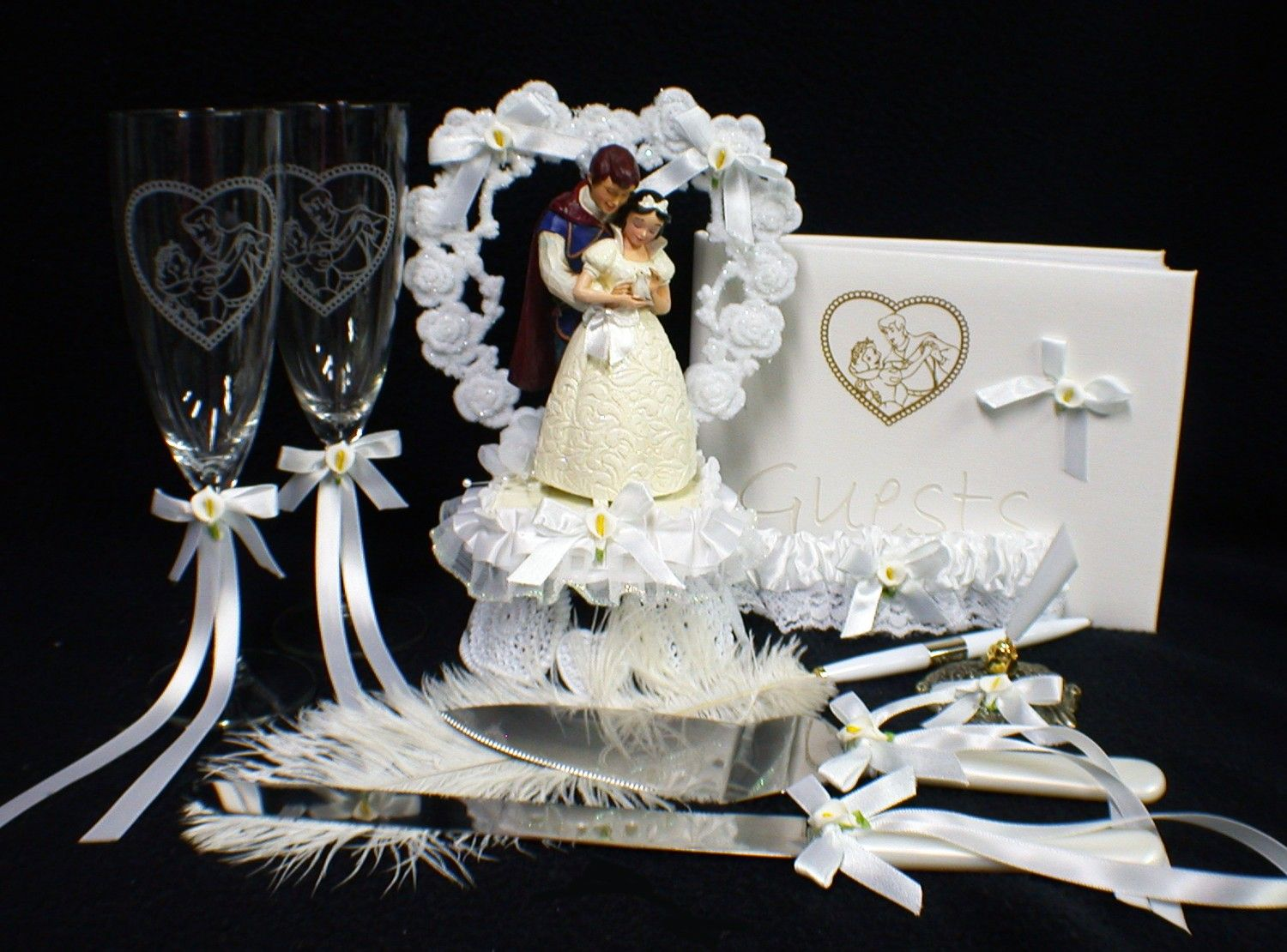 Disney Snow White & Prince Wedding Cake Topper LOT Glasses knife ...