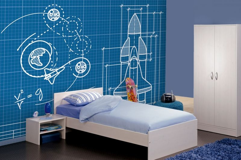 Rocket Blueprint Wallpaper Cool Nursery Design