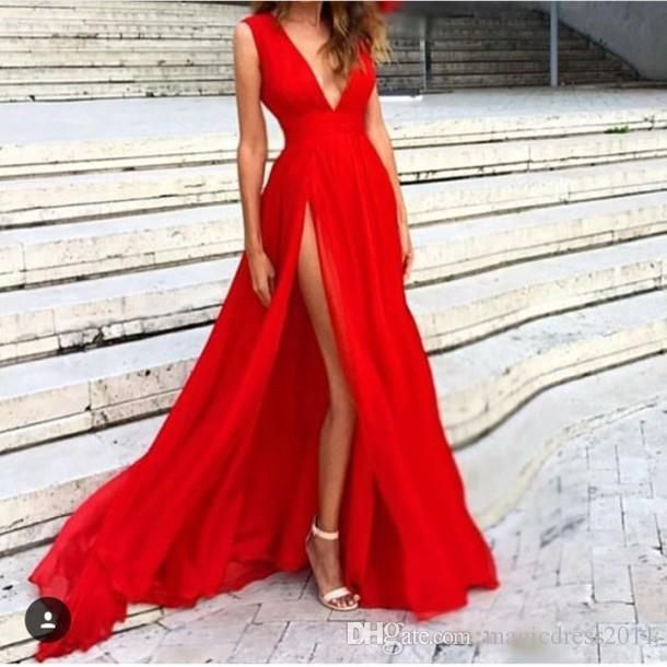 New Red Evening Dresses 2016 Deep V-Neck Sweep Train Piping Side Split Modern Long Skirt Cheap…