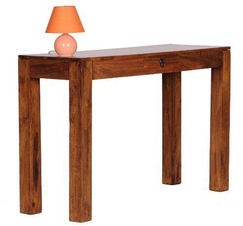 Schreibtischplatte holz  WOHNLING Konsolentisch Massivholz Sheesham Konsole mit 1 Schublade ...