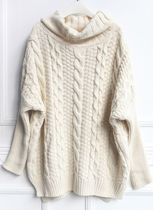 Beige High Neck Loose Cable Knit Sweater | Live Fashionably ...