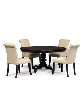 Bradford 5Piece Round Dining Room Furniture Set With Upholstered Beauteous Dining Room Upholstered Chairs Design Decoration