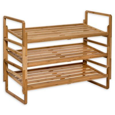 Honey Can Do 3 Piece 3 Tier Stacking Bamboo Shoe Rack Bamboo