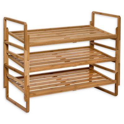 Honey Can Do 3 Piece 3 Tier Stacking Bamboo Shoe Rack Bamboo