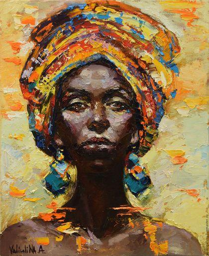 Люди, ручной работы. Ярмарка Мастеров - ручная работа. Купить Африканка. Handmade. Комбинированный, оранжевый, Этнический стиль, холст грунтованный
