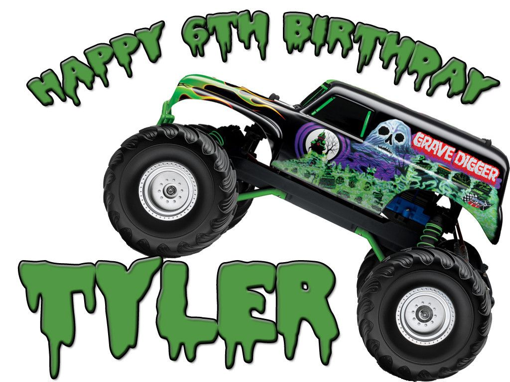 Personalized Custom Birthday T-shirt Moster Truck Grave Digger ...