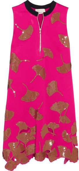 3.1 Phillip Lim - Gingko Sequin-embellished Satin Mini Dress - Fuchsia