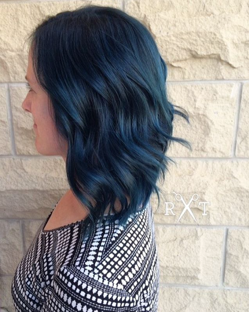 Black and blue hair color by Rachel at Avante on Main Street Salon, Exton PA
