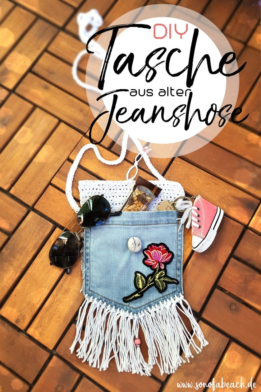 Jeans Recycling DIY süße Umhängetasche aus alter Jeans
