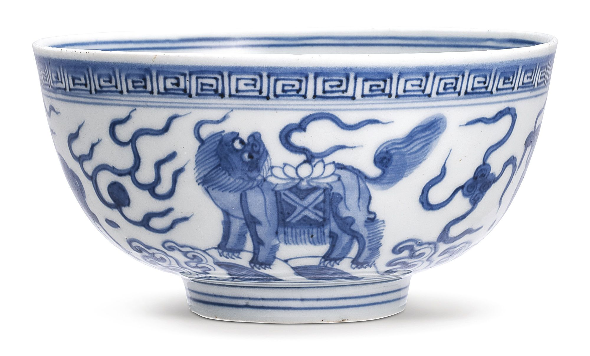 China antique Porcelain Ming wanli blue white hand painting lion plate